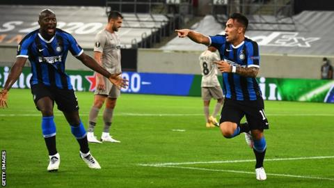 Lautaro Martinez celebrates scoring for Inter Milan against Shakhtar Donetsk
