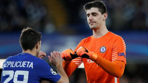Thibaut Courtois and Cesar Azpilicueta