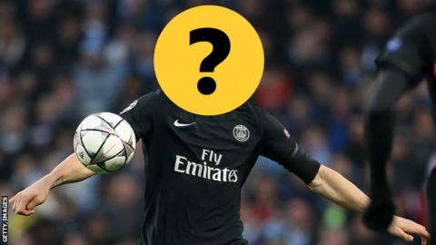 A player with his face covered by a question mark