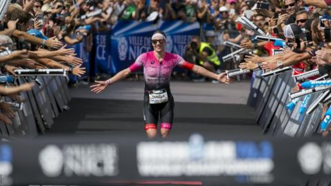 Nice, France, September 7: Daniela Ryf of Switzerland reacts after winning the Ironman 70.3 World Championship (Photo by Jan Hetfleisch/Getty Images).