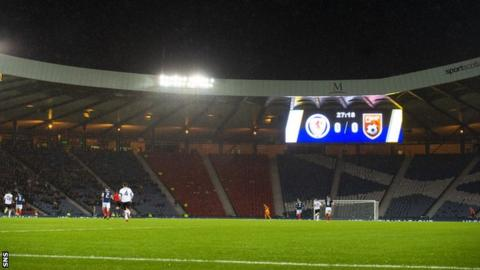 Empty seats at Hampden during Scotland's match against Albania