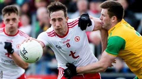 Tyrone's Colm Cavanagh and Donegal's Eoghan Bán Gallagher