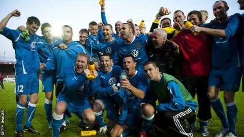 Bangor City players celebrate their Europa League win over Honka in 2010