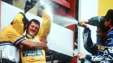 Michael Schumacher claimed the first of his 91 grand prix wins at Spa in 1992