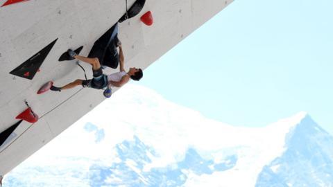 Slovenian Domen Skofic Climbing World Cup in Chamonix