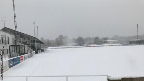 Snow on the pitch at Borough Briggs