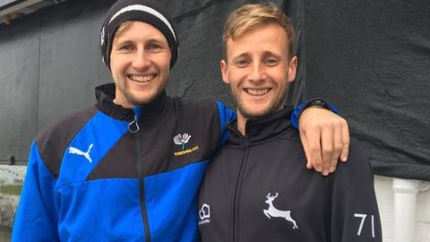 Yorkshire's Joe Root and Nottinghamshire's Billy Root