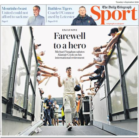 Daily Telegraph sport section on Tuesday