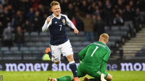 Matt Ritchie celebrates his third goal for Scotland
