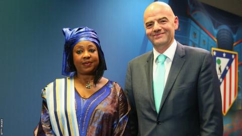 Fatma Samoura and Gianni Infantino