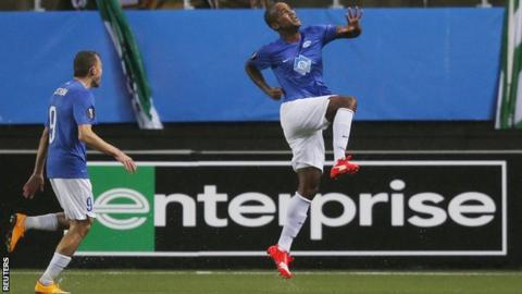 Molde striker Ole Kamara celebrates