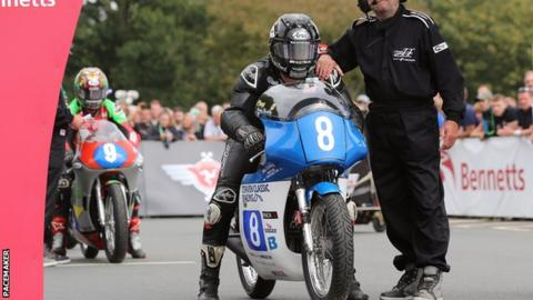 Jamie Coward rode his Craven Honda to success on the Isle of Man on Monday