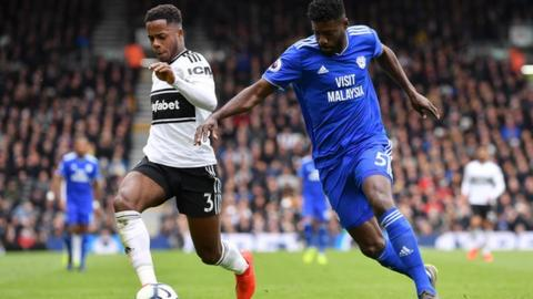 Bruno Manga playing for Cardiff against Fulham