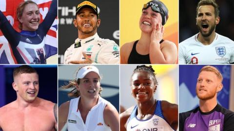 Clockwise from top left: Laura Kenny, Lewis Hamilton, Ellie Simmonds, Harry Kane, Ben Stokes, Dina Asher-Smith, Johanna Konta and Adam Peaty