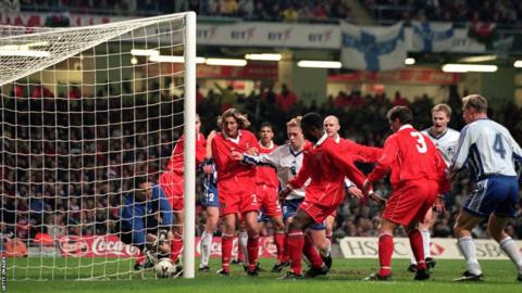 Wales lost 2-1 to Finland in their first game at the Millennium Stadium. Mark Hughes' side became the best supported national team at the start of the decade.