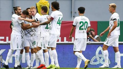 Rubin Kazan players celebrate a goal