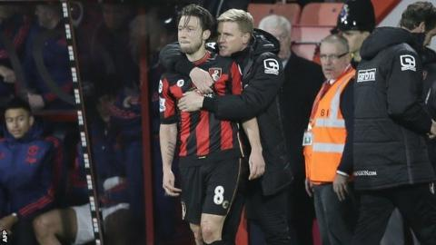 Harry Arter with Bournemouth manager Eddie Howe