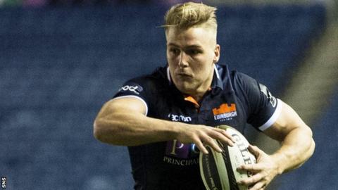 Edinburgh wing Duhan van der Merwe carries the ball