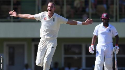 England bowler Stuart Broad celebrates taking a hat-trick against a Cricket West Indies President's XI