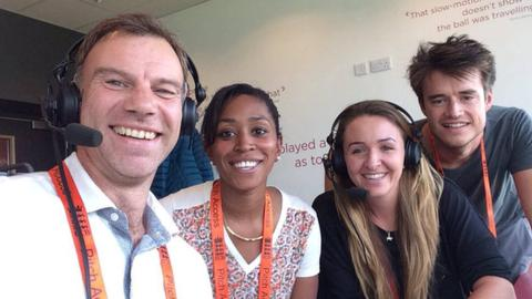 Test Match Special's Charles Dagnall, Ebony Rainford-Brent and Henry Moeran with England seamer Kate Cross