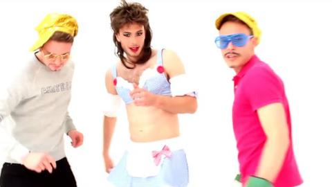 Aberdeen defender Andrew Considine (centre) and friends in their pop video
