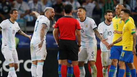 Argentina lose to Brazil at the Copa America