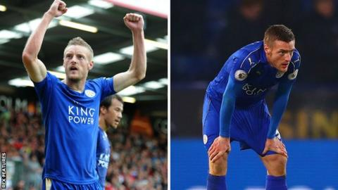 Jamie Vardy celebrating (left) and looking dejected (right)