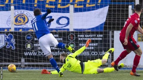 Stephen Dobbie fires in the opening goal at Palmerston Park