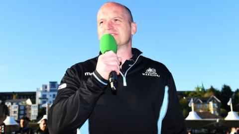 Gregor Townsend addresses the Scotstoun crowd after his final game as Glasgow Warriors head coach