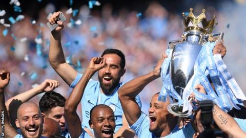 Manchester City won the 2017-18 title with a record 100 points