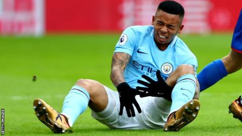Gabriel Jesus injured his knee when Manchester City played at Crystal Palace on New Years Eve last season