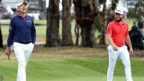 England's Tyrrell Hatton (right) and Ian Poulter