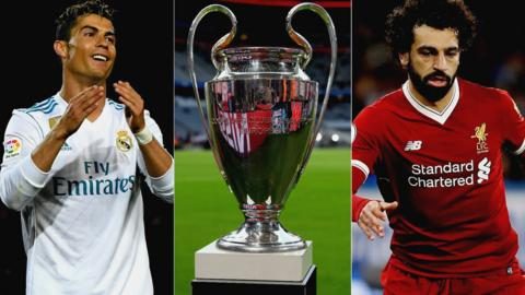Cristiano Ronaldo, Champions League trophy and Mo Salah