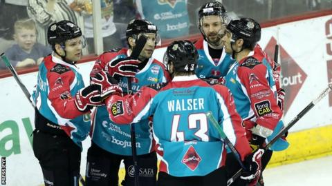 Giants players celebrate after a goal by David Rutherford on Saturday night