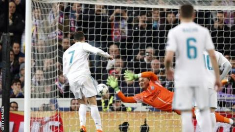 Cristiano Ronaldo levels from the penalty spot at the Estadio Santiago Bernabeu