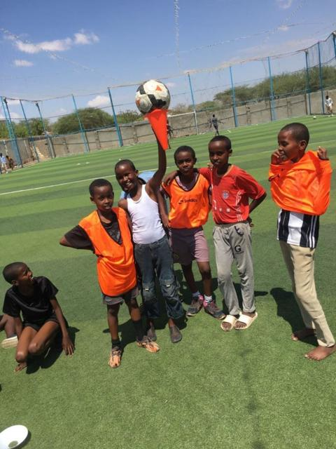 Kids (7-14yrs) training at 'All Stars Sports Academy' for 1st annual football summer camp tournament in Hargeisa, Somalia starting July. (Photo by Hussein Hassan)