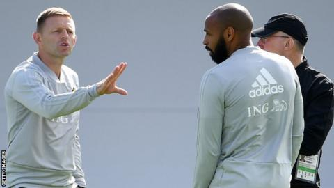 Graeme Jones (left) was part of a Belgium coaching team, along with Thierry Henry (right), that led Eden Hazard and company to the World Cup semi-finals in 2018