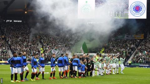 Rangers and Celtic players at the start of the Scottish Cup semi-final