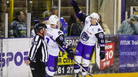 Scott Pitt celebrates his second goal as Clan take the win in Manchester on Sunday