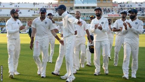 India celebrate at Trent Bridge