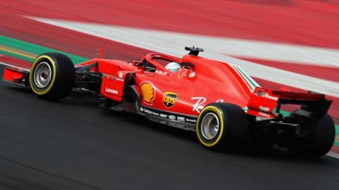 Sebastian Vettel of Germany driving the (5) Scuderia Ferrari SF71H on track during day two of F1 Winter Testing at Circuit de Catalunya