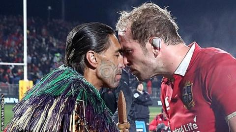Alun Wyn Jones was greeted with a traditional Maori Hongi when they played the Lions played Crusaders