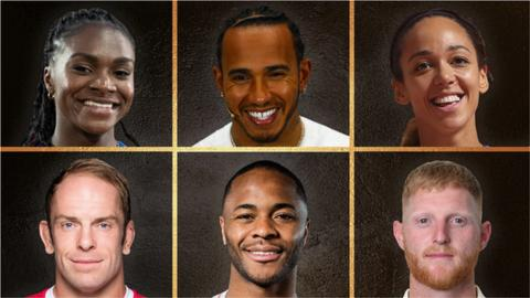 Dina Asher-Smith, Lewis Hamilton, Katarina Johnson-Thompson, Alun Wyn Jones, Raheem Sterling and Ben Stokes