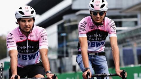 Force India's Sergio Perez and Esteban Ocon