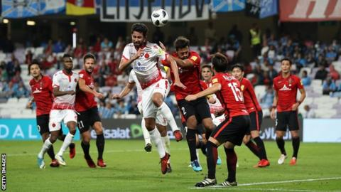 Action from Wydad Casablanca against Urawa Red Diamonds at the Club World Cup