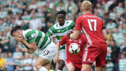 Kieran Tierney of Celtic is hurt during the Scottish Cup final