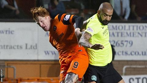 Simon Murray tussles with Hibs defender Liam Fontaine