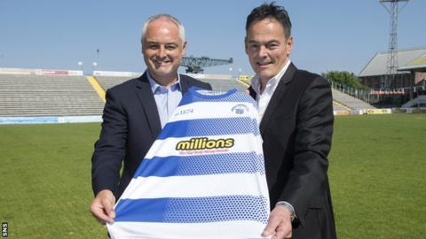 Greenock Morton manager Ray McKinnon and chairman Crawford Rae