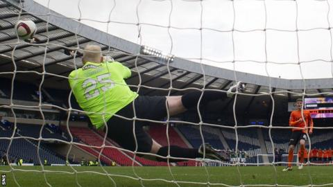 Conrad Logan saved penalties from Blair Spittal and Billy Mckay in the semi-final shootout