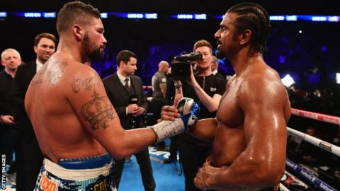 Tony Bellew and David Haye in the ring after the fight